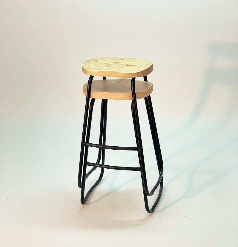 taburete vintage asiento madera maciza natural apilable