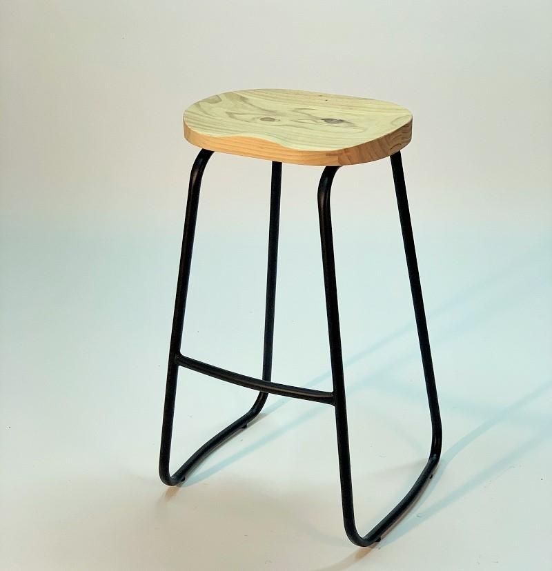 taburete vintage asiento madera maciza natural apilable vista